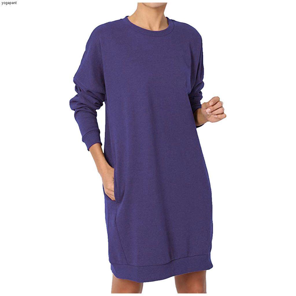 المرأة بلوزات طويلة الأكمام الطويلة جولة الرقبة البلوفرات حجم كبير فضفاض لينة البلوز جيوب لون الصلبة البلوز ## 55