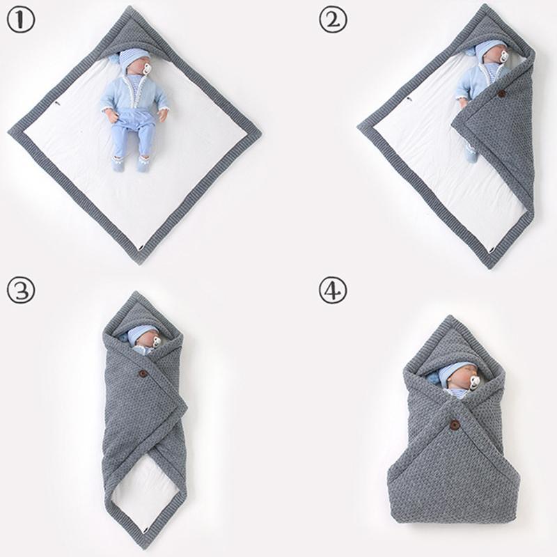 Hiver chaud bébé Sacs de couchage Bonbons Couleur Bonneterie pour Bebes Swaddle Wrapper Nouveau-nés Super Soft Infantil Bebes Enveloppes Quilt