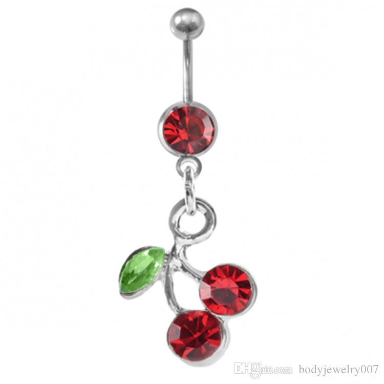 D0091 (1 cor) cereja cor barriga botão vermelho do umbigo Anéis Body Piercing Jóias Encantos Dangle Acessórios de Moda (10PCS / LOT) JFB-2643