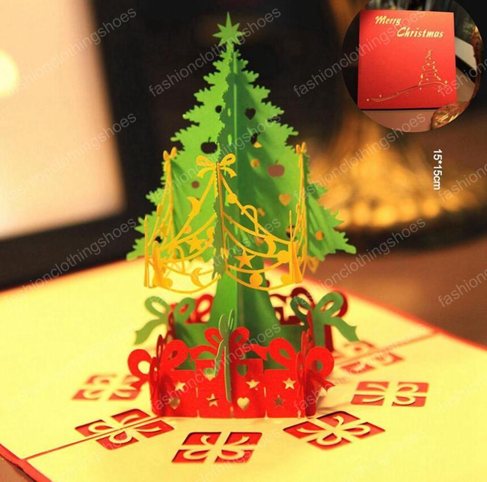 Christmas Greeting Card 3d Handmade Pop Up Greeting Cards Gift Card Xmas Tree Paper Gift Card Party Holiday Invitatio
