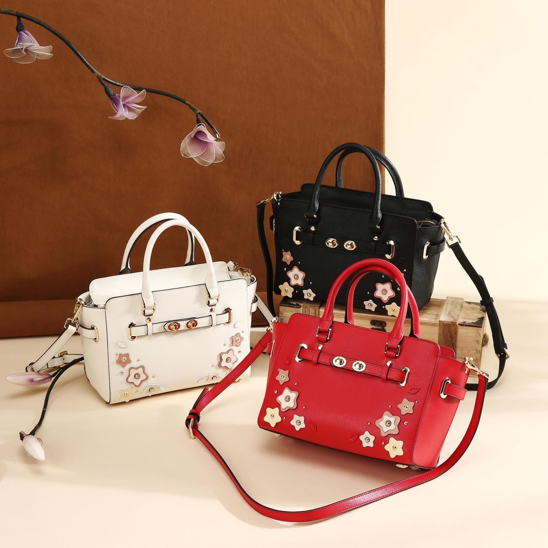 Belle2019 Woman Bag Genuine Leather Hard Hold Wing Ma'am Handbag Messenger All-match Single Shoulder Package
