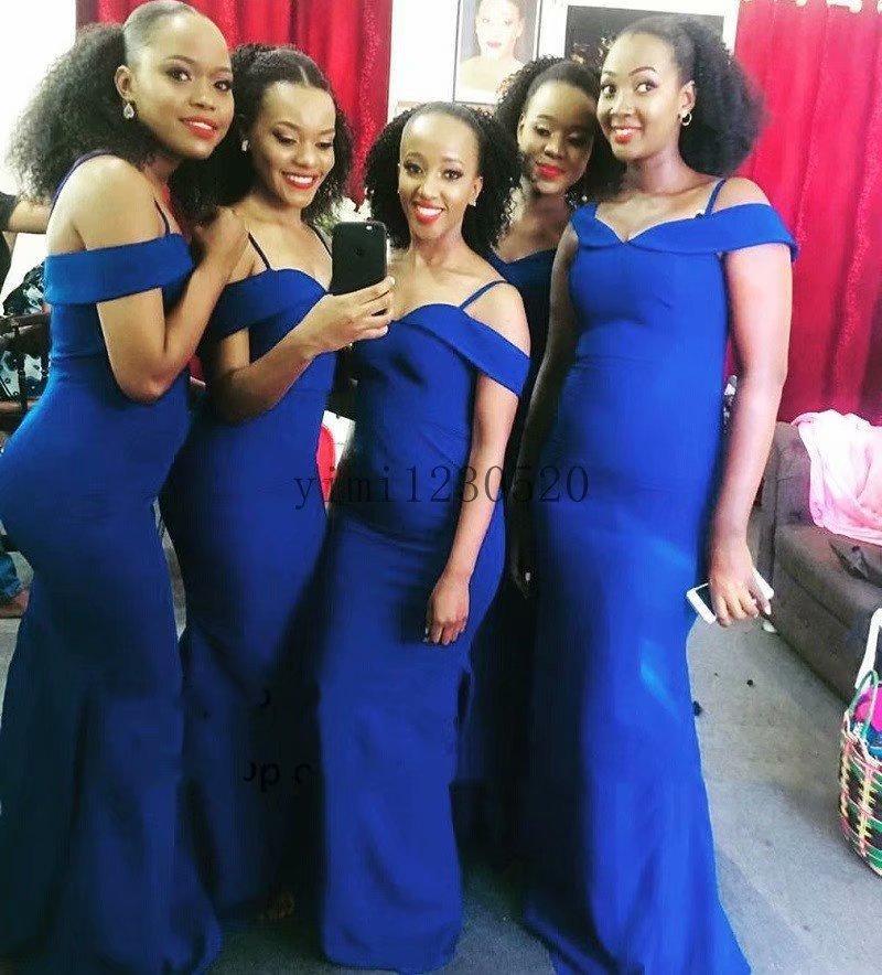 Royal Blue Mermaid Bridesmaid Dresses Spaghetti Sweep Train Garden Country Summer Wedding Guest Gowns Maid of Honor Dress Plus Size Cheap