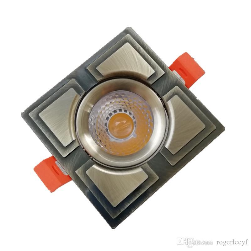 Topoch LED Kare Downlight 4-Pack Bronz / Altın 7 W CREE COB CNC İşleme Alüminyum Bahar Klipleri Iç Aydınlatma için AC100-240 V Montaj