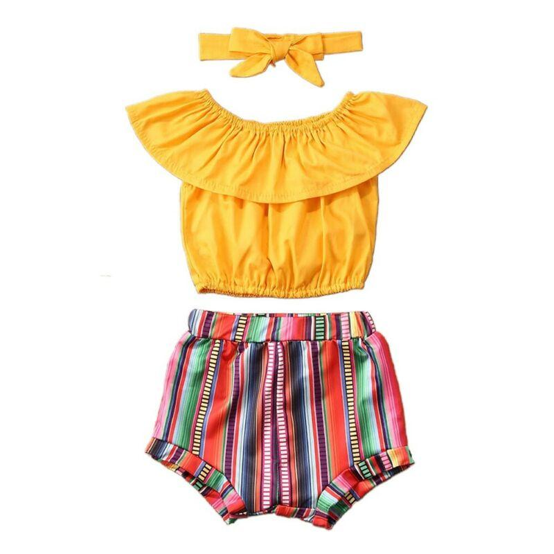 1-6years de los niños de la niña de la ropa del verano de los 3Pcs volante tapas del tanque de rayas cortos diadema Holiday Beach niñas Trajes