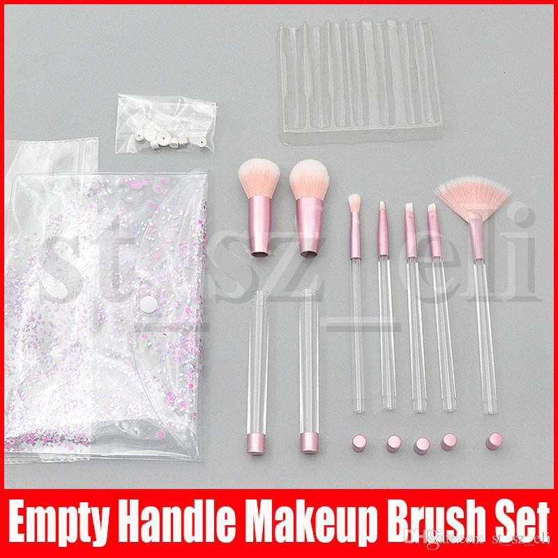 Makeup Brushes 7Pcs with Empty Clear Handle Portable and Glitter with Cosmetic Bag Over DIY Brushes Set