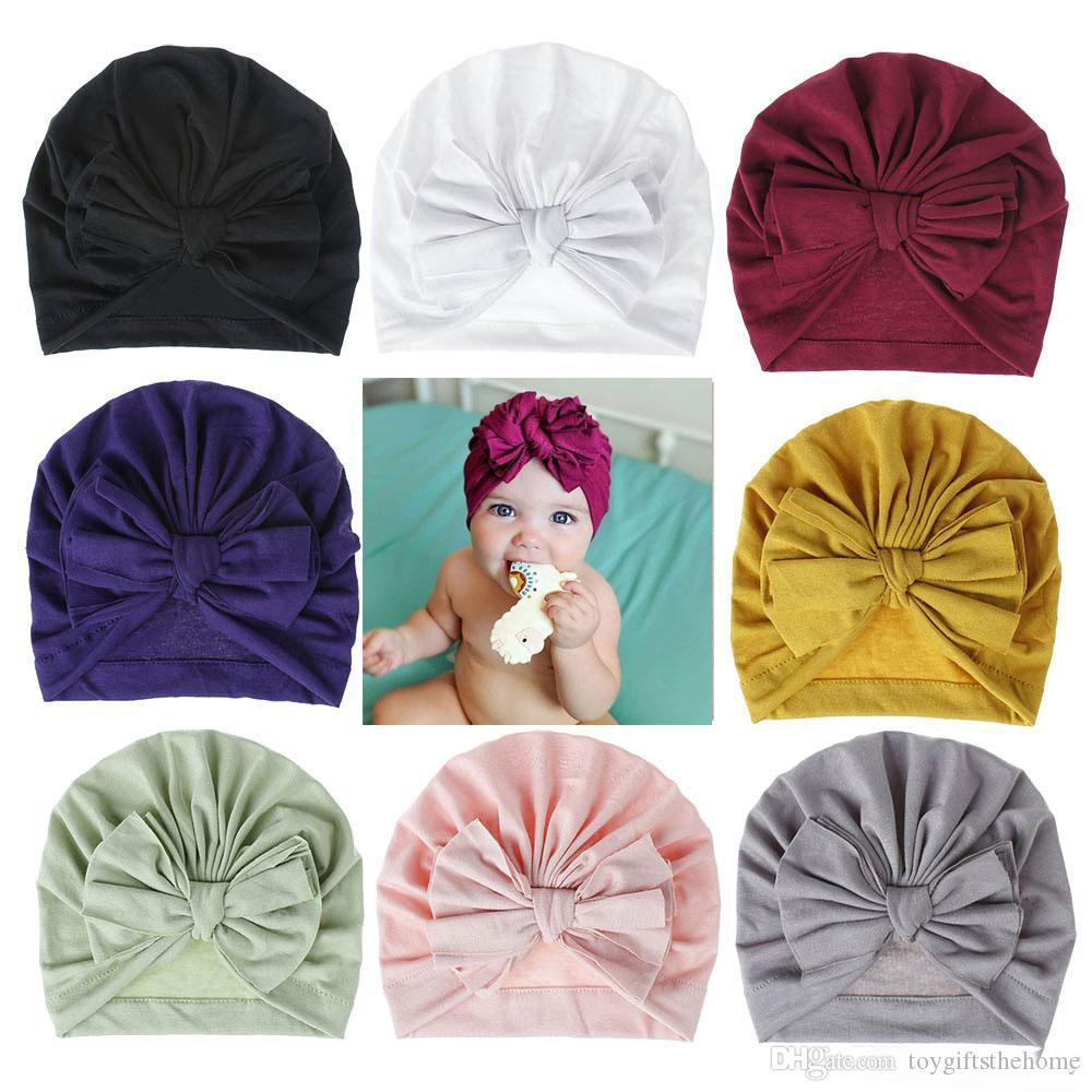 Nuevo otoño invierno infantil de los bebés del sombrero Bokwnot Headwear El niño del niño para niños de algodón Gorros Turban niños de los sombreros accesorios 18Colors del