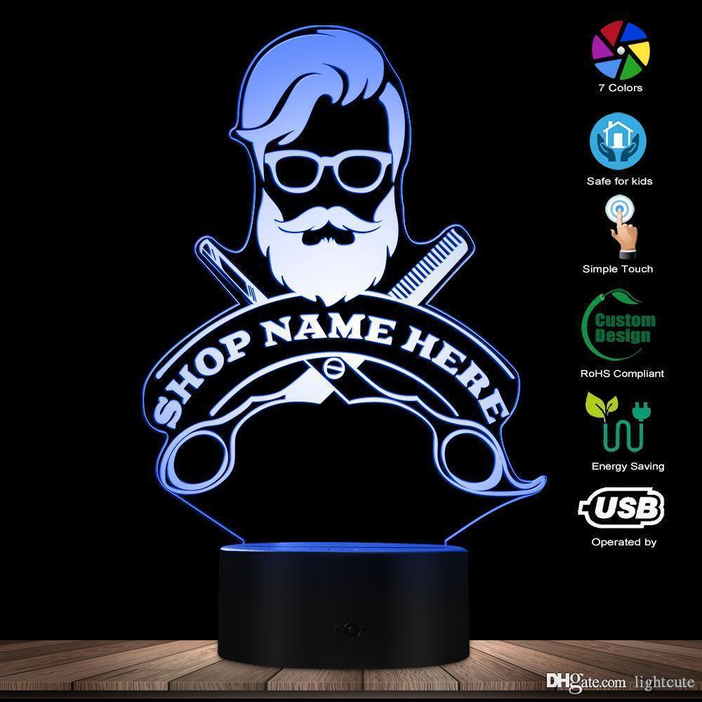 Logo Lamp barbeiro cabelo Cabeleireiro Haircut Negócios Barba Salon Homem LED Night personalizado Barber Shop Nome Acrílico Edge LED Luz