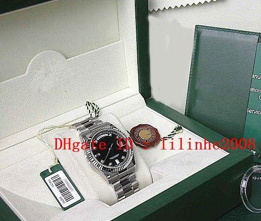 relógio dos homens de pulso ouro branco 18k PRETO SERTI PRESIDENTE Dial 118239 Preto automático de alta qualidade Mens Relógios