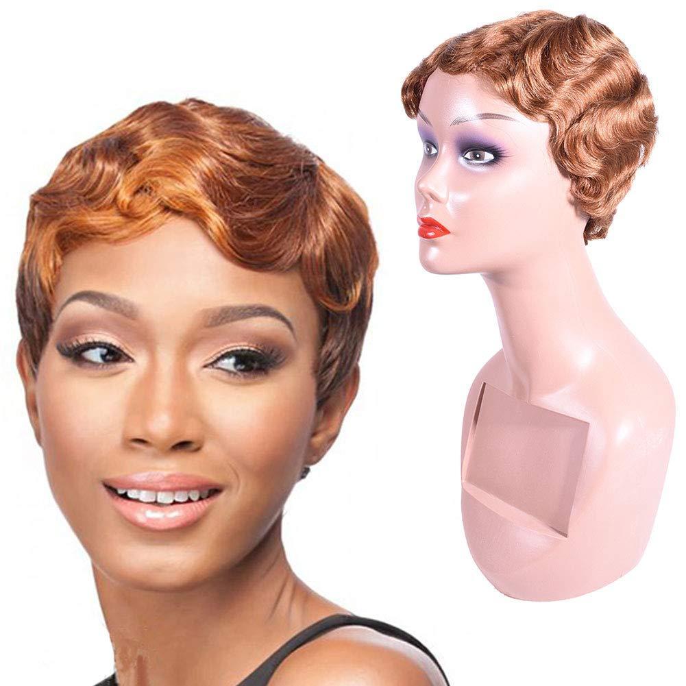 siyah kadın% 100 insan saçı Kısa Su Dalga Kıvırcık Peruk% 100 İnsan Saç Moda Anne Peruk Günlük Parti Doğal 30 # parmak dalga peruk