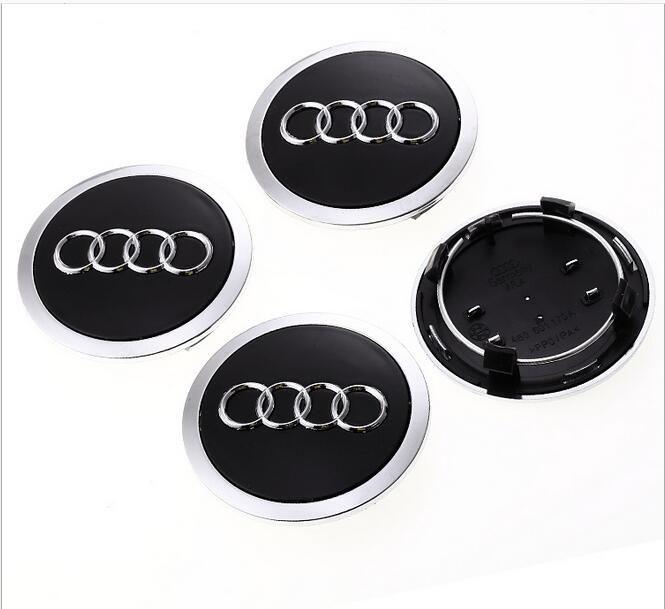 4x69mm Audi Centre Roue Noire Caps Hubcaps Emblèmes Rim Caps Badges Logo