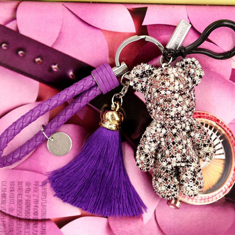 Gewalt Bär Quaste Strass Schlüsselbund Doill Kreative Schlüsselbund Autoschlüssel Anhänger Cartoon Schlüsselanhänger Autoschlüssel Ring Geschenke Für WomenSH190724