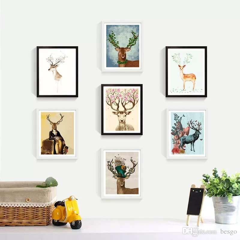Dekore Hayvan Resim Sanatı El Boyalı Geyik Yağı Kanepe Duvar Dekor No Frame 16 * 20inch DBC DH1495-1 için Boyama Boya Boyama DIY Yağı