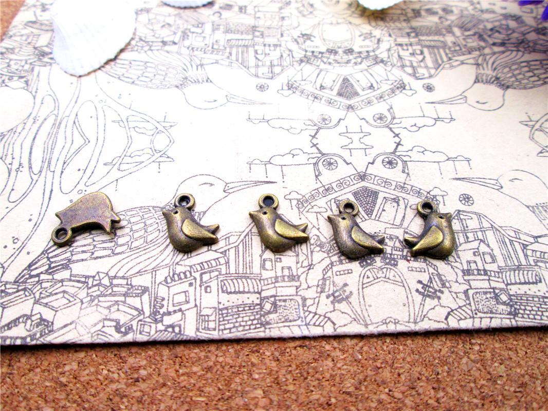 180pcs-- 11 * 10mm bronzo antico uccellini uno fascini laterali dei monili del pendente