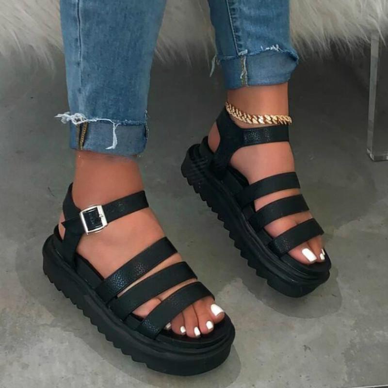 أحذية نسائية الصيف مع منصة PU جلدية الأوتاد أنثى المصارع صندل سميكة القاع الأسود براون تنفس المرأة الأحذية