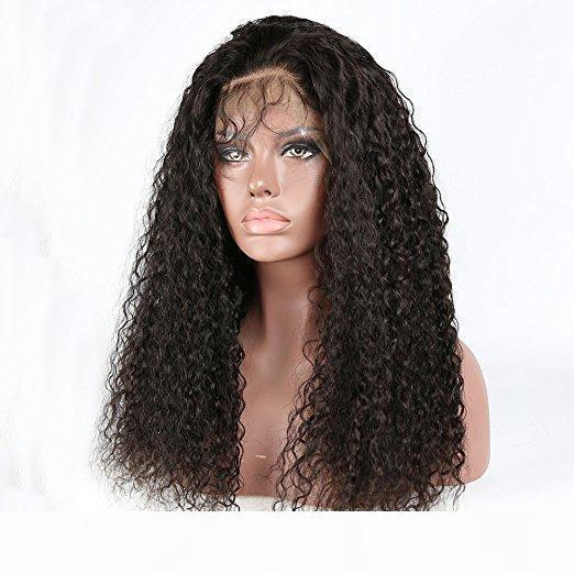 360 레이스 정면 1백80% 밀도 브라질 버진 물 물결 인간의 머리 가발 블랙 여자 아기 헤어 16 인치, 자연 색상