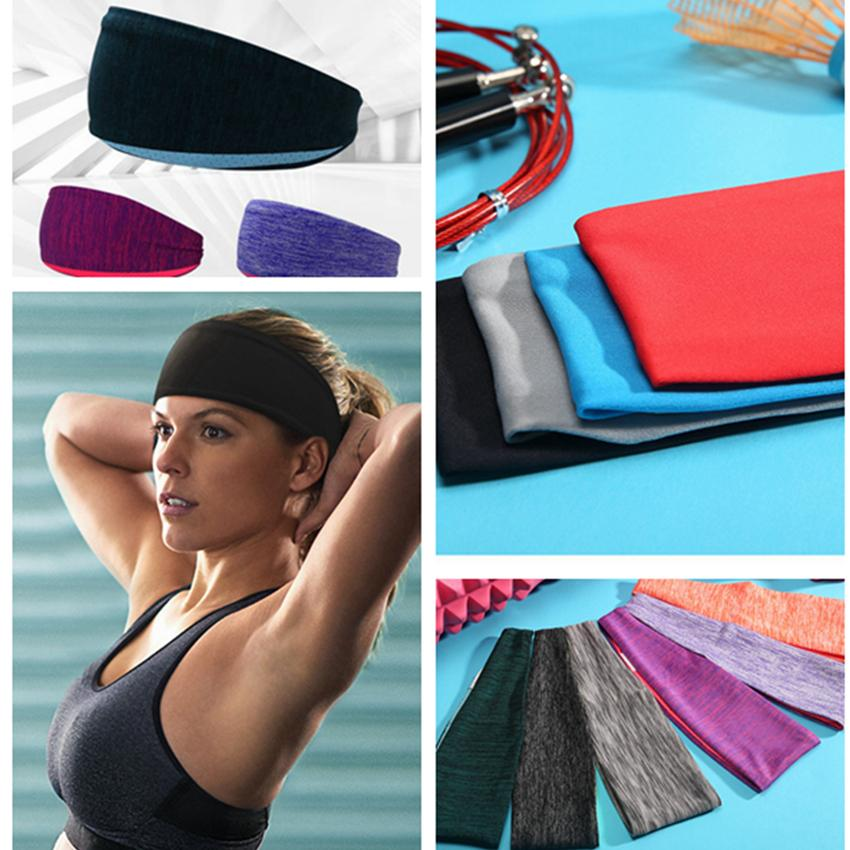 Stretchy Sweatbands Headbands Running Sport Non-Slip Athletic Breathable Fitness Yoga Hair Bands 10 Colors ZZA989