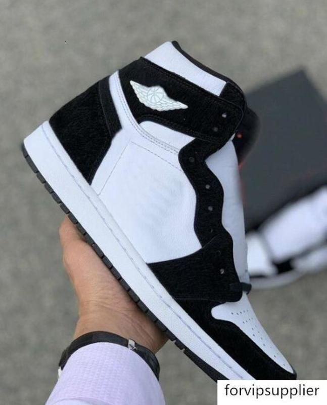 1 Mid Panda Hoch OG WMNS Basketball-Schuhe 1 1s Panda hococal Mens-Schwarz-Weiß Outdoor Sports Turnschuhe