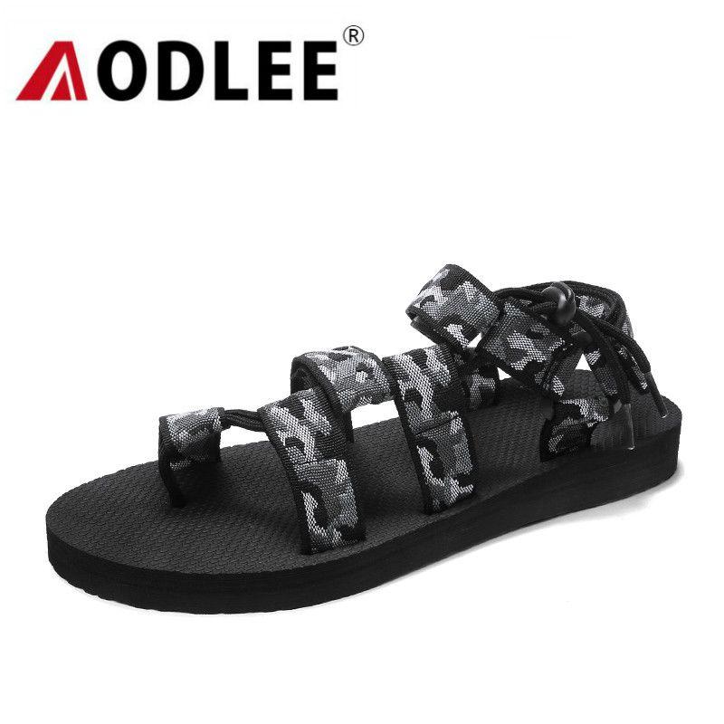 Мужские сандалии летние мужские пляжные туфли легкие комфортные плоские сандалии повседневные дышащие слайд-сандалии плюс размер дропшиппинг AODLEE