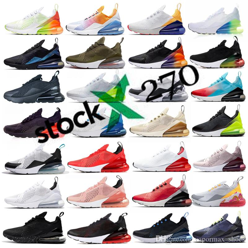 270 Bred Platinum Tint Men Women Running Shoes Triple Black White University Red Tiger Olive Void Sports Trainers Zapatos Sneakers