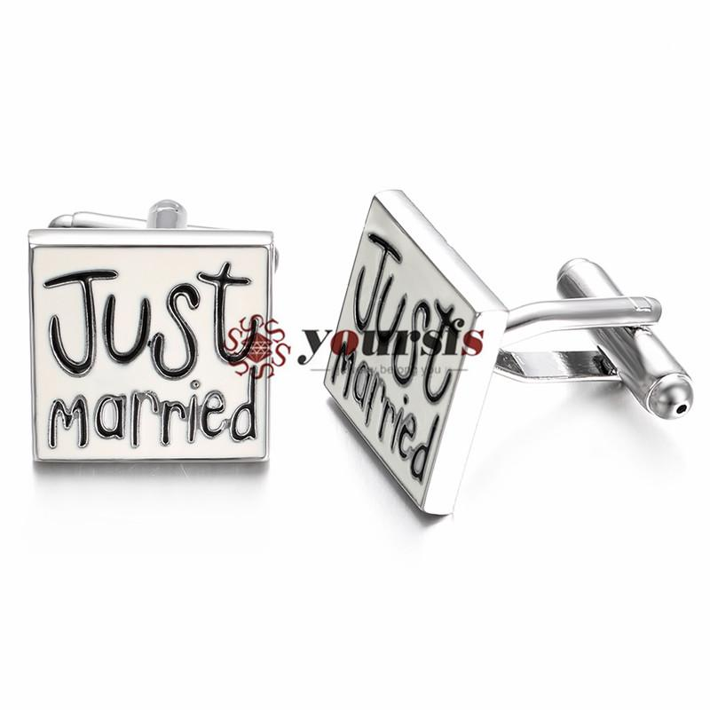 Yoursfs модные запонки свадьба [только что женился] простой нержавеющей письмо манжеты обручальные модные мужские запонки