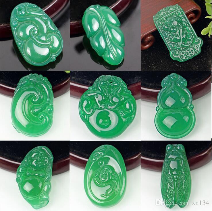 Ágata verde natural Colgante verde calcedonia piezas de flores tema propicio misceláneo buena implicación del bebé Buda de dragón