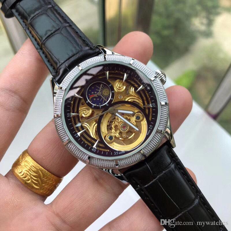 De calidad superior! Hombres más relojes de vestir de cuero genuino automático de 42 mm de oro reloj de pulsera fase de la luna para los mens resistente al agua dropshipping Reloj