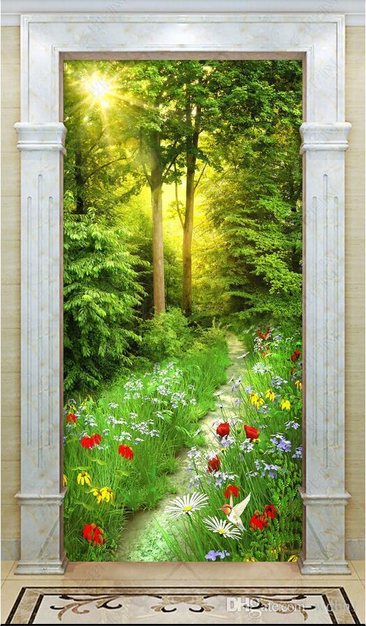 3D 벽지 사용자 지정 사진 꽃, 잔디, 삼림 지대 경로, 현관 배경 벽에 대한 벽면 벽지 3 d