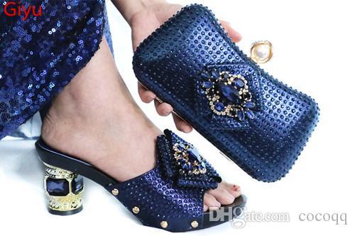 новые приходит Matching Женщины обуви и сумка Комплект украшена сиреневая нигерийскую обувь и сумка Set Италии обуви и сумка набор KG1-35