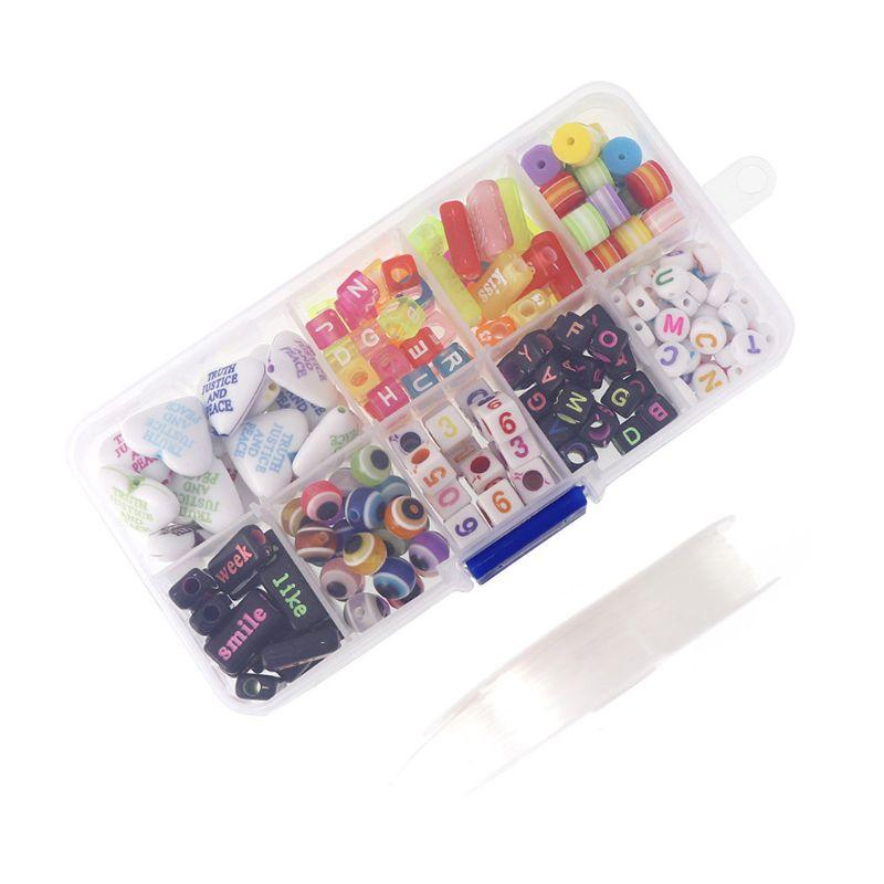 220Pcs Colorful Set Acrylic Alphabet Letter Beads with Plastic Box Jewelry Making AXYD