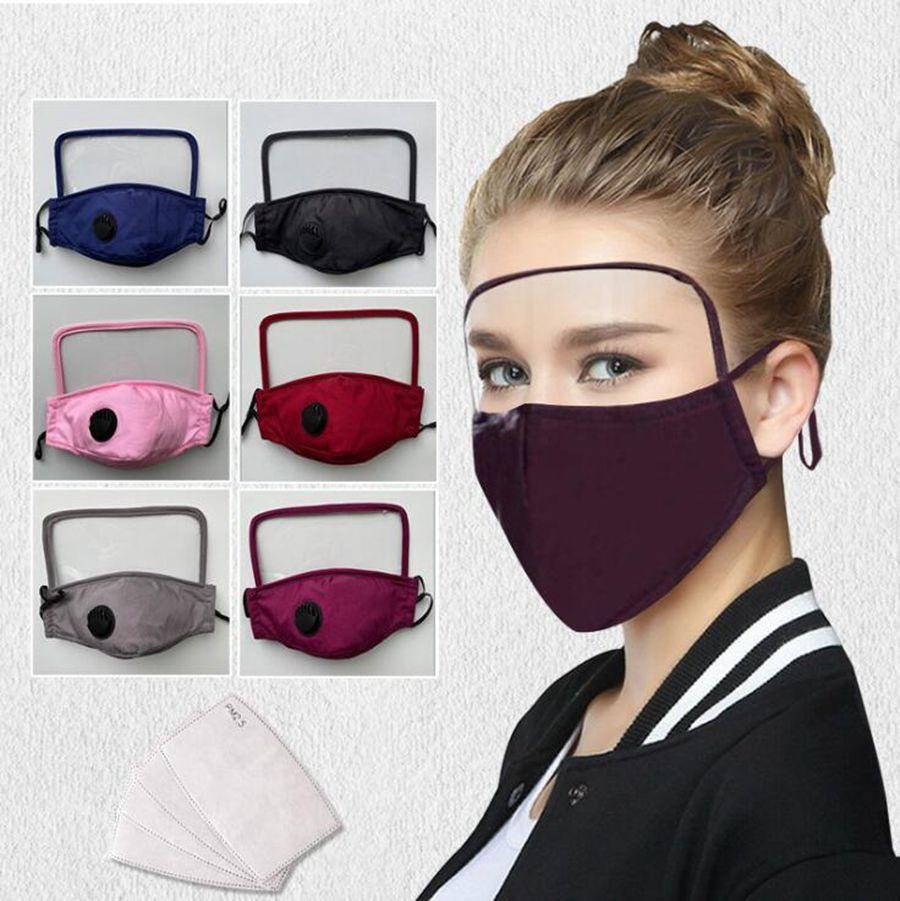 2 em 1 máscara facial crianças Adultos Máscaras Anti Poeira completa face Escudo de algodão Crianças de protecção Escudo Boca máscaras protetoras OOA8151