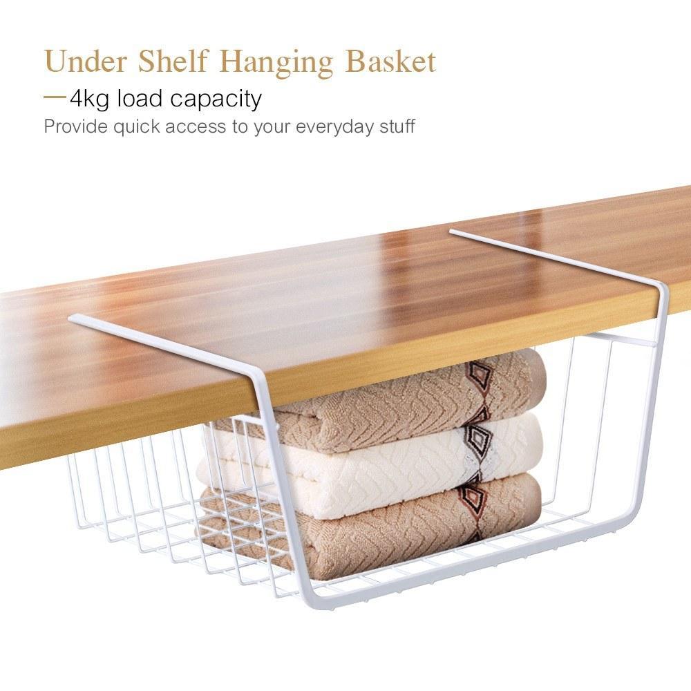 Metal Wire de suspensão Cesta de armazenamento rack Under Shelf Organizer Titular para o banheiro Kitchen Cupboard Cabinet Wardrobe