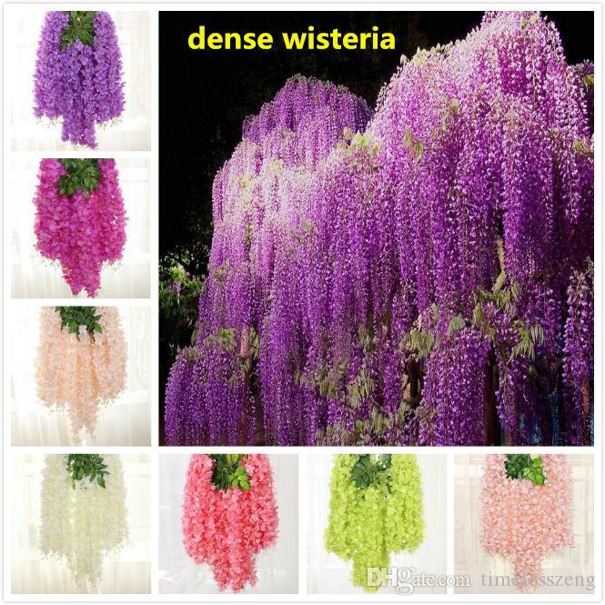 정원 홈 결혼식 장식을위한 8 색 밀도 등나무 꽃 인공 실크 꽃 포도 나무 110cm 우아한 등나무 덩굴 등나무