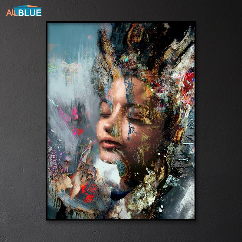 Modern Art Wall Pictures Woman Portrait Canvas Painting Poster Prints Canvas Art Decorative Picture For Living Room Abstrac