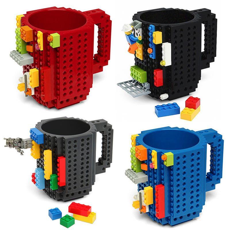 بناء على أكواب الطوب drinkware اللبنات الكؤوس الإبداعية كتلة اللغز القدح زجاجة المياه القهوة كوب بار مطبخ البهلوانات GGA2486