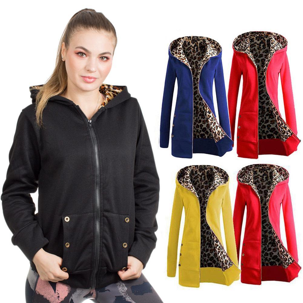 Frauen Wintermantel Leopard Zipper mit Kapuze lange Ärmel mit Fleece-Futter Slim Fit LF88