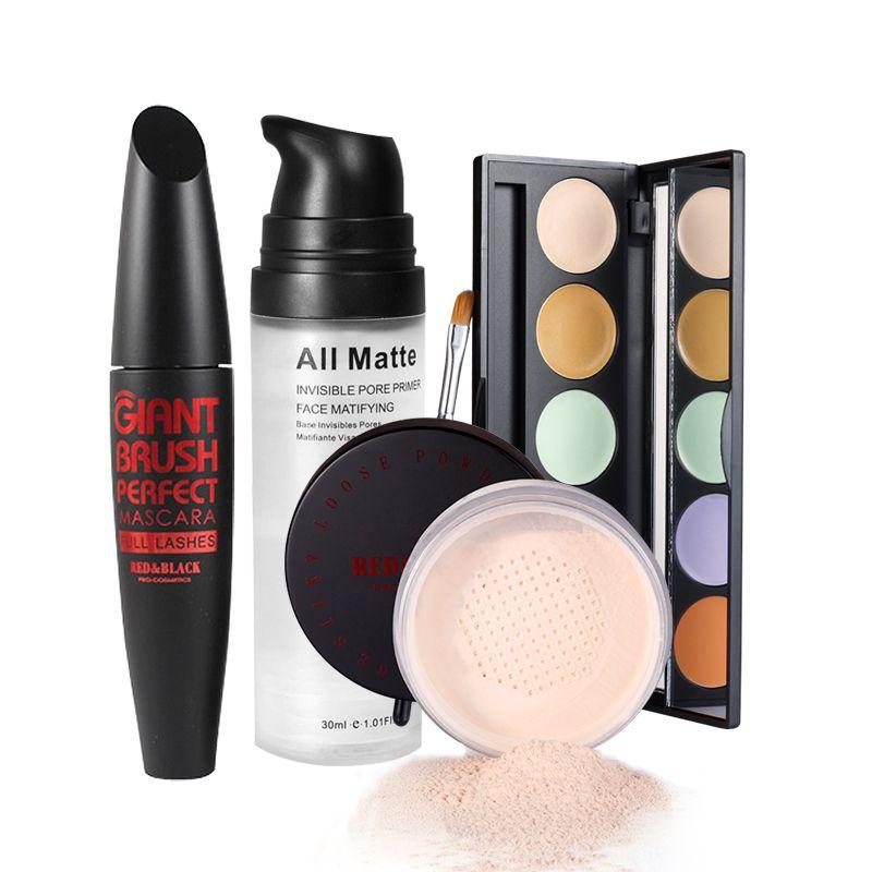 Redblack 4pcs Set de maquillaje Polvos sueltos 5 colores Paleta Corrector Pore Invisible Hd Highlighter Powder Set Maquillaje Profesional