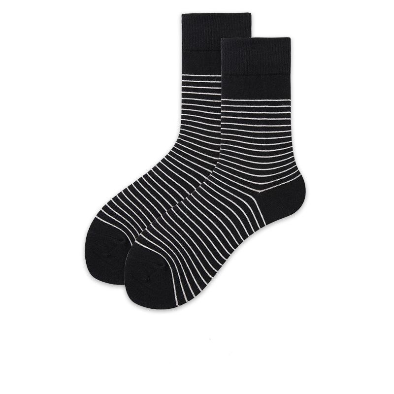 Fashion Christmas stocking Unisex cartoon black pinstripe sports Korean street style cotton stocking