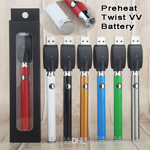 سخن 380mAh الجهد المتغير أسفل Evod تويست التسخين VV E السجائر Vape القلم البطارية الأنا شاحن USB كيت للعربات الذكية سميكة النفط