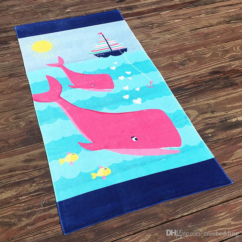 Toalla de algodón Aumenta el engrosamiento de la toalla de baño Europa y los niños adultos sin formaldehído universal algodón corte terciopelo historieta toalla de playa 160c