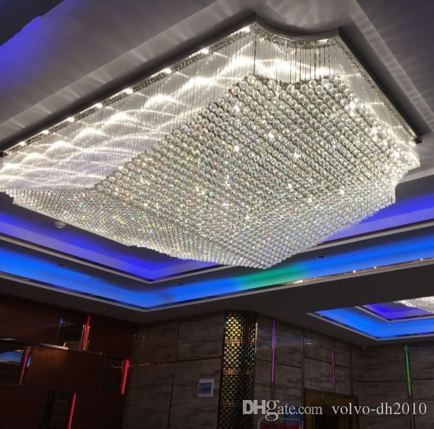 lobby di design di lusso grandi lampadari di cristallo a soffitto a LED a luce AC110V 220V lustres progetto di illuminazione interna LLFA