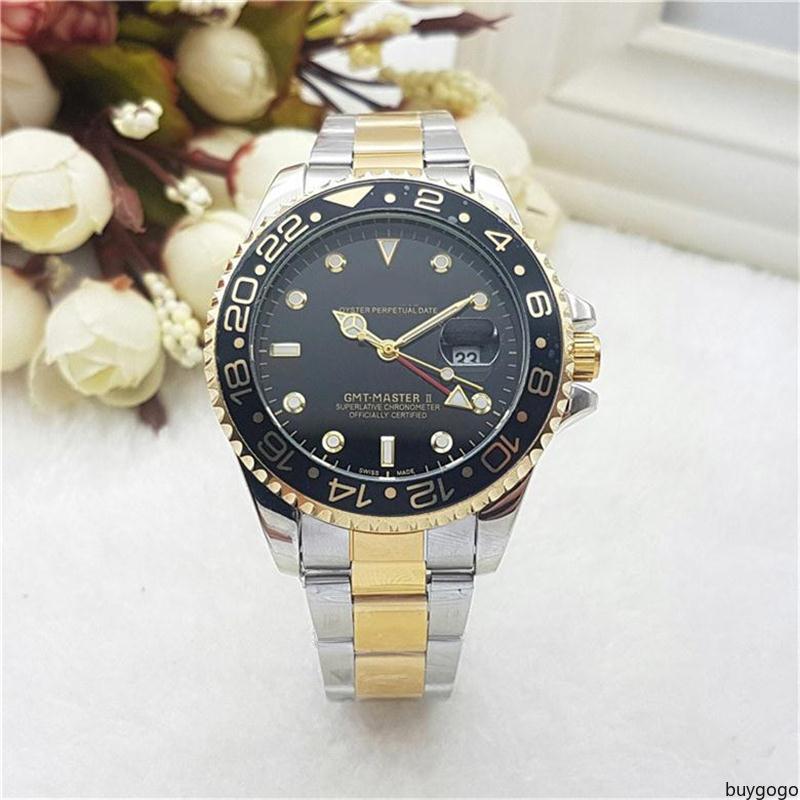 buygogo GMT needle Dial calendar function fashion Stainless steel band Quartz wristwatch New Designer Mens watches top luxury Quartz watches
