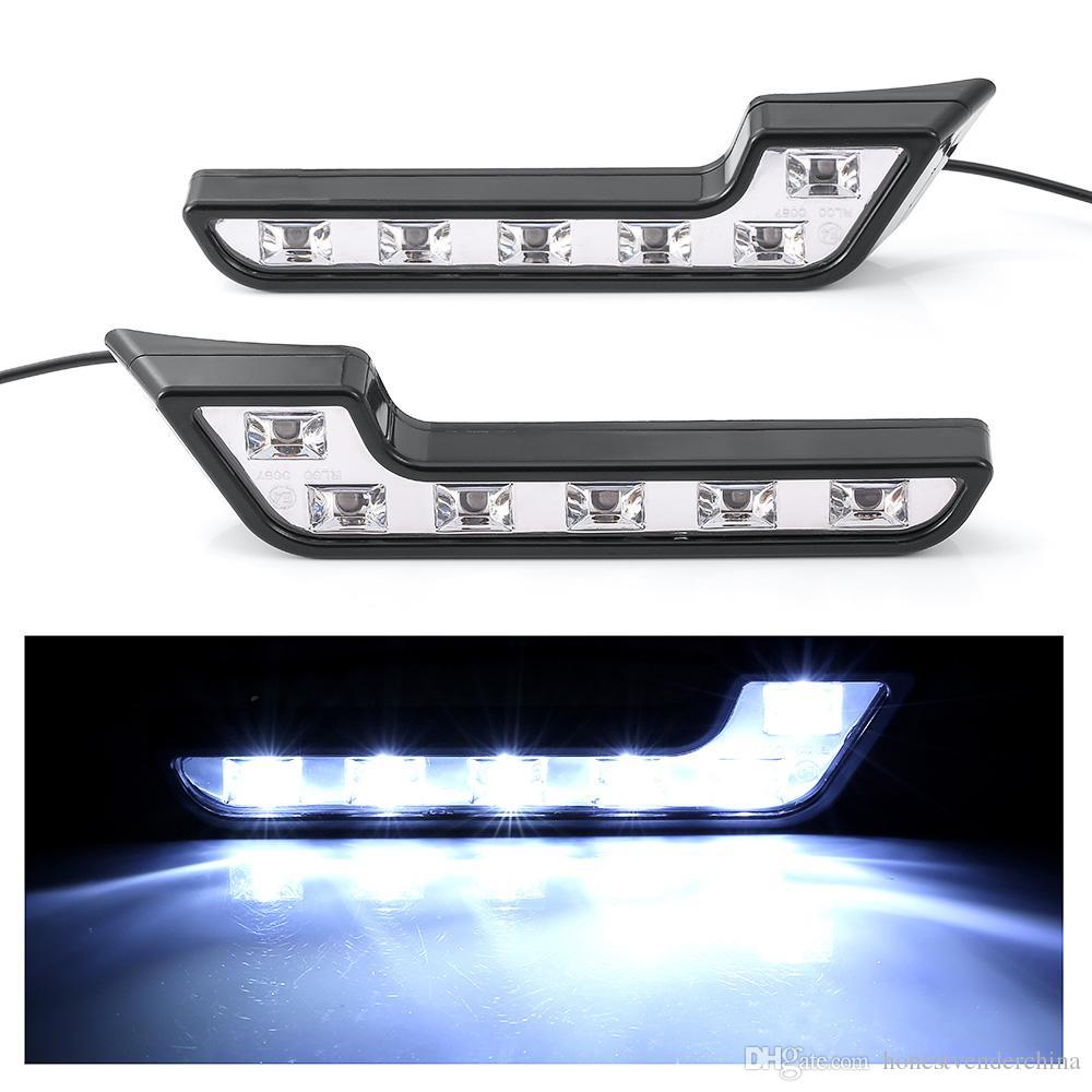 2X White 6W 12V DRL Daytime Runing Lamp fog COB LED Waterproof Driving Light