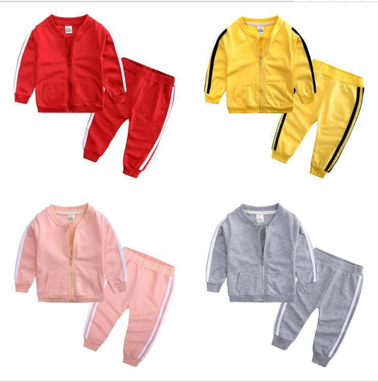 Spring Baby Casual Chacksuit Children Boy Girl Cotton Zipper Jacket Pantalones 2pcs / Sets Kids Ocio Sport Traje Ropa infantil
