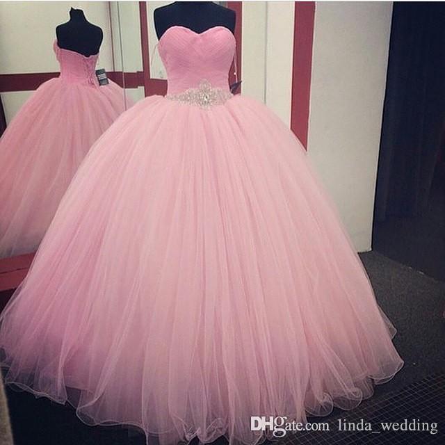 2019 Adorable Baby Pink Quinceanera principessa Puffy di sfera Sweet 16 Evo ragazze lunghe del partito di promenade spettacolo abito Plus Size Custom Made