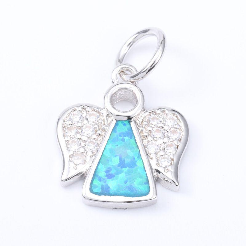 Singreal opala micro pave asa encantos pulseira colar choker pingente conectores para as mulheres diy jóias fazendo acessórios