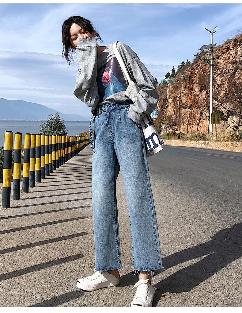 Lake Blue Tall Waist Straight Jeans Female Nine Points Kz