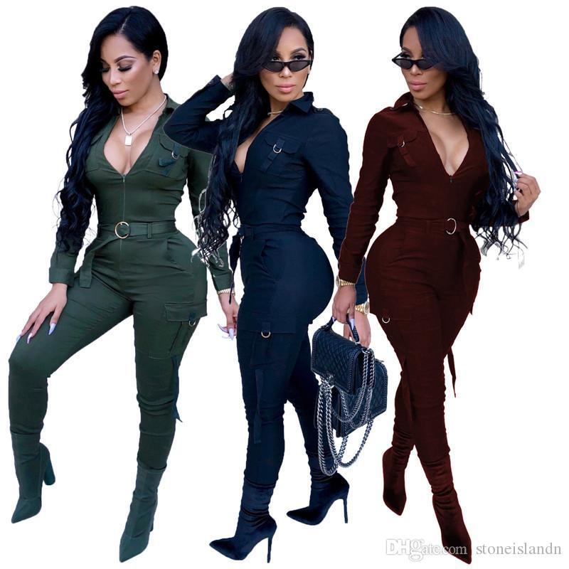 Femmes Solid Color Designer Fashion Slim Tenues Mulit poches zippées lambrissés Femmes Tenues Vêtements décontractés femelles
