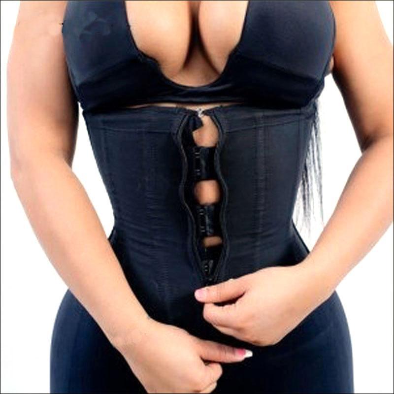 Nuevos Materiales mujeres talladora del cuerpo de látex de la cintura de Underbust Trainer cremallera delgado abdomen de Cintura que adelgaza la talladora del corsé Fajas