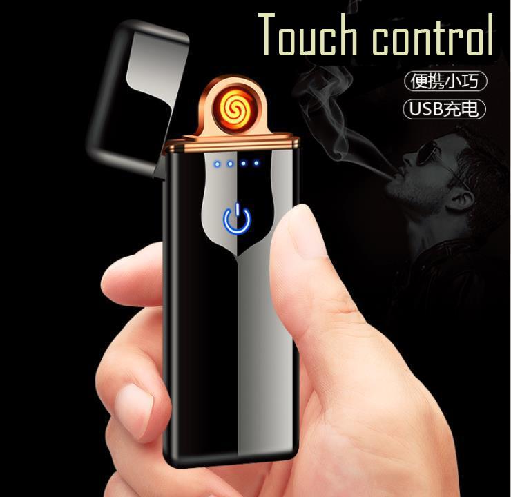 usb wiederaufladbare zigarettenanzünder doppelseitige heizung wolframspule schlank zigarettenanzünder elektrische berührungssteuerung zündung berührungsempfindlich