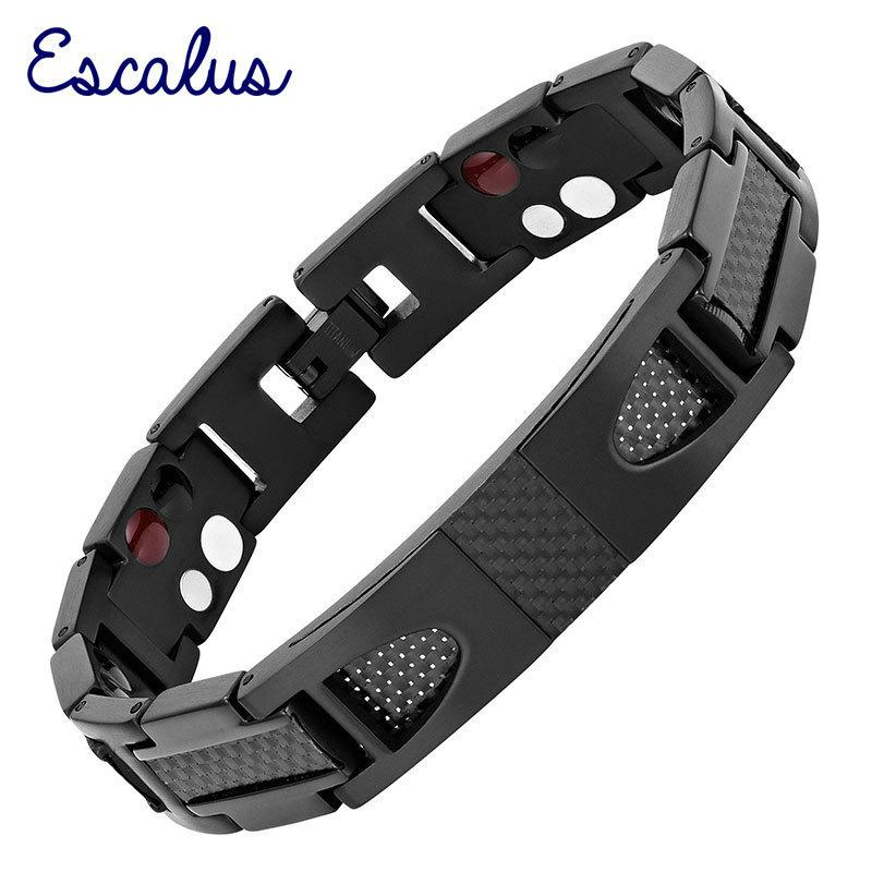 Escalus Magnetic Pure Titanium Black Bracelet For Men Carbon Fiber Stylist Germanium Charm New Bracelets Wristband Y19051002